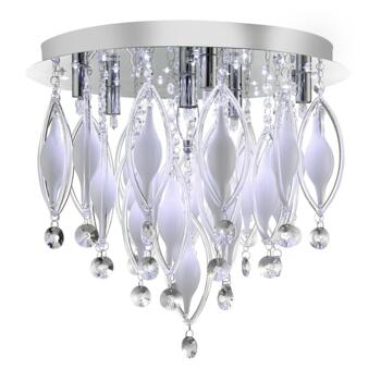 Spindle 6 Light Flush Ceiling Fitting - 2456-6CC - Chrome/Clear/White Glass