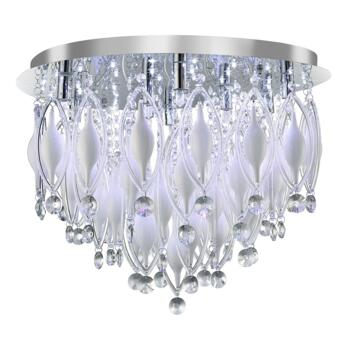 Spindle 9 Light Flush Ceiling Fitting - 2459-9CC - Chrome/Clear/White Glass