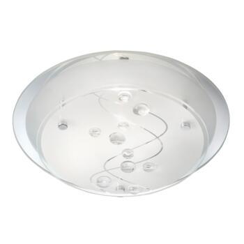Flush Ceiling Light - Single Light Flush 3020-25CC - Frosted / Mirrored Glass
