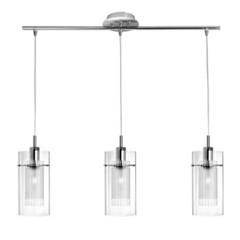 Duo 1 Ceiling Light - 3 Light Bar 3303-3CC - Chrome/Clear and Frosted Glass