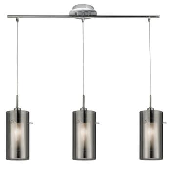 Duo 2 Ceiling Light - 3 Light Bar - 3303-3SM - Chrome/Smoked and Frosted Glass