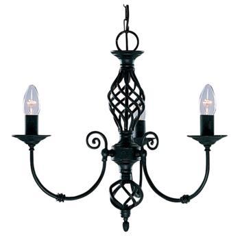 Zanzibar Ceiling Light - Matt Black 3 Light 3379-3 - Satin Matt Black Wrought Iron