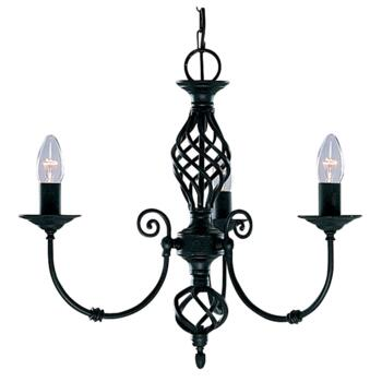 Zanzibar Ceiling Light - Matt Black 3 Light 3379-3 - Satin Matt Black Wrought Iron