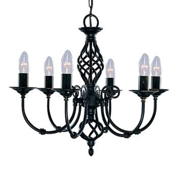 Zanzibar Ceiling Light - Matt Black 6 Light 3379-6 - Satin Matt Black Wrought Iron