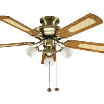 "Fantasia Mayfair Combi Ceiling Fan - Antique Brass - 42"" Mahogany / Oak & Cane Blades"