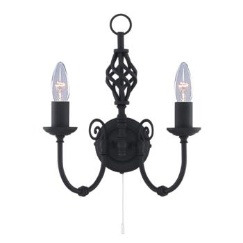 Zanzibar Wall Light - Matt Black 2 Light 3380-2 - Black Wrought Iron