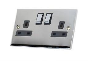 Slimline 13A Double Switched Socket - P/Chrome - With Black Interior