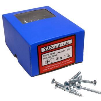 """Wood Screws - 1½"""" x 8 - Pack of 200 Screws"""
