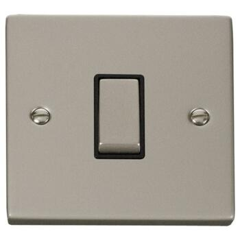 Pearl Nickel Light Switch - Single 1 Gang 2 Way - With Black Interior