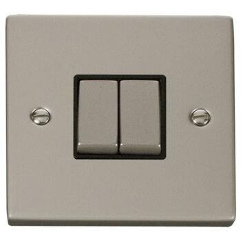 Pearl Nickel Light Switch - Double 2 Gang Twin - With Black Interior