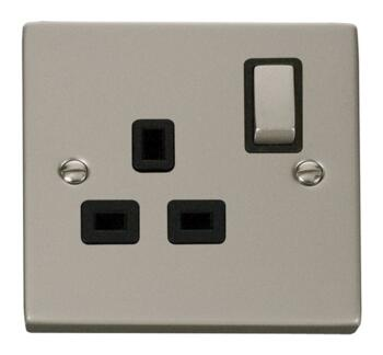 Pearl Nickel Single Socket Ingot 1Gang Switched - With Black Interior