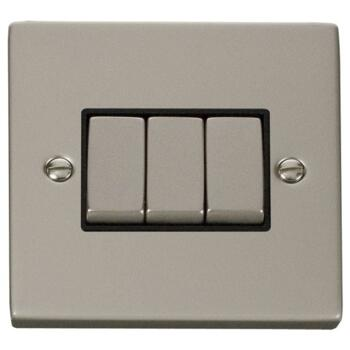 Pearl Nickel Light Switch - Triple 3 Gang 2 Way - With Black Interior