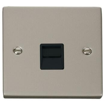 Pearl Nickel Telephone Socket Single Secondary - With Black Interior