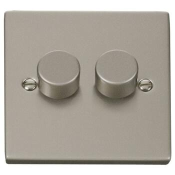 Pearl Nickel Dimmer Switch - Double 2 Gang Twin - 400W Tungsten/Halogen