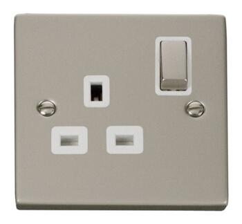 Pearl Nickel Single Socket Ingot 1Gang Switched - With White Interior
