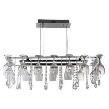 Vino 10 Light Pendant Ceiling Light - 41510-10CC - Chrome/Crystal/Glass Finish