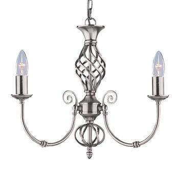 Zanzibar Ceiling Light - Silver 3 Light 4489-3 - Satin Silver Wrought Iron