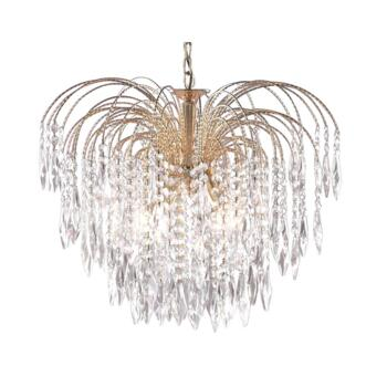 Waterfall Crystal Ceiling Light - 5 Light 5175-5 - Gold Plated