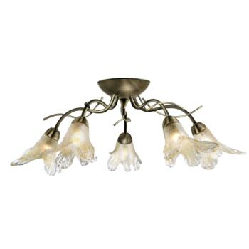 Lily II Semi-Flush Ceiling Light -5 Light 5495-5AB - Antique Brass Finish