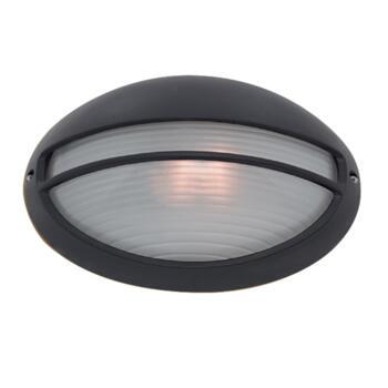 Oval Bulk Head Outdoor Wall Light - Black 5544BK IP54 - Black Aluminium Finish