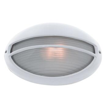 Oval Bulk Head Outdoor Wall Light - White 5544WH - White Aluminium Finish
