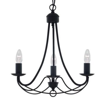 Maypole Ceiling Light - Black 3 Light 6343-3BK - Satin Matt Black Wrought Iron