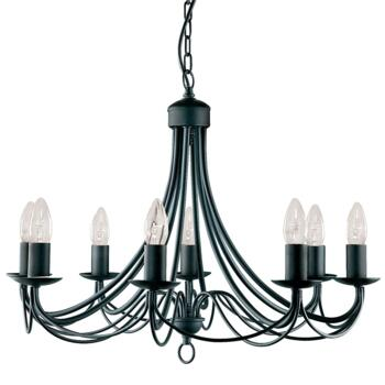 Maypole Ceiling Light - Black 8 Light 6348-8BK - Satin Matt Black Wrought Iron