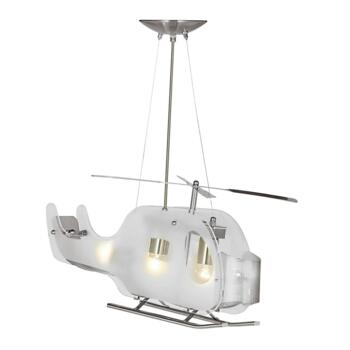 Helicopter Ceiling Light - Frosted Glass 639 - Satin Silver and Glass Finish