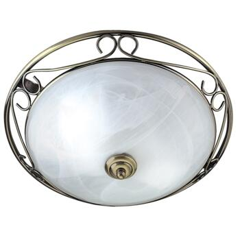 Flush Ceiling Light - Antique Brass 6436 - Glass Diffuser
