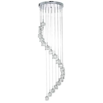 Ice Cube Chandelier - 20 Light Halogen 6720-20 - Chrome