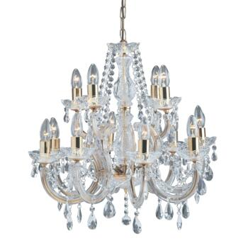 Marie Therese Chandelier - 12 Light Crystal 699-12 - Polished Brass Finish
