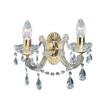 Marie Therese Wall Light - 2 Light Crystal 699-2 - Polished Brass Finish
