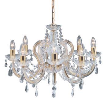 Marie Therese Chandelier - 8 Light Crystal 699-8 - Polished Brass Finish
