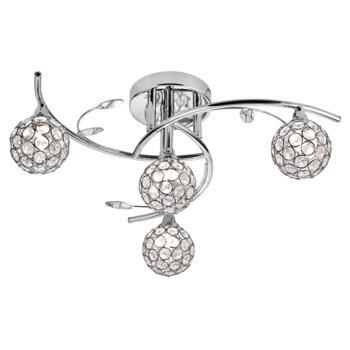 4 Light Semi-Flush Ceiling Fitting - 7024-4CC - Chrome/Glass