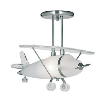 Airplane Ceiling Light - Frosted Glass 737 - Satin Silver and Glass Finish