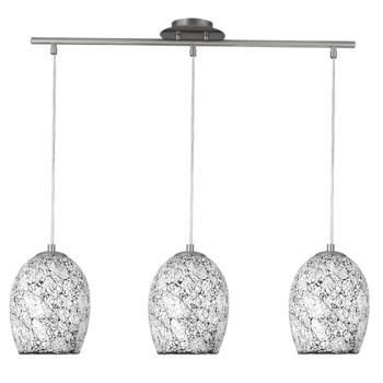Crackle Ceiling Light - 3 Light Bar 8069-3WH - Chrome / Mosaic Glass