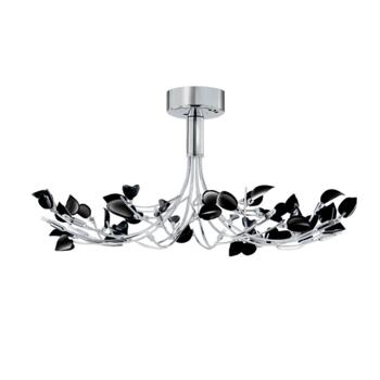 Wisteria Ceiling Light - Chrome Flush 81510-10BK - Chrome with Black Glass Leaves