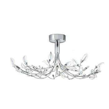 Wisteria Flush Chrome Ceiling Light - Chrome with White Glass Leaves