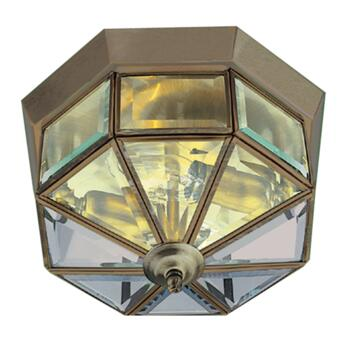 Flush Ceiling Light - Antique Brass 8235AB - Bevelled Glass