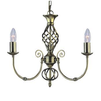 Zanzibar Ceiling Light - Ant Brass 3 Light 8393-3 - Antique Brass Wrought Iron