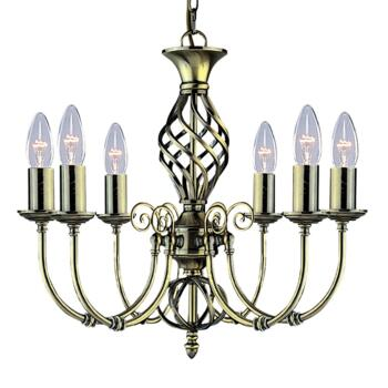 Zanzibar Ceiling Light - Ant Brass 6 Light 8396-6 - Antique Brass Wrought Iron