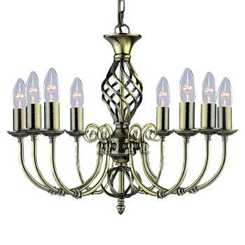 Zanzibar Ceiling Light - Ant Brass 8 Light 8398-8 - Antique Brass Wrought Iron