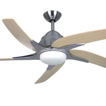 "Fantasia Viper Plus 44"" Ceiling Fan - Stainless Steel - Maple Blades & 2 x 60W G9 Halogen"