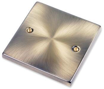 Antique Brass Blank Plate - 1 Gang Single