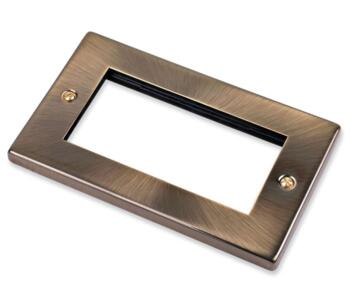 2 Gang Plate with Quad Aperture - 4 Module Plate - Antique Brass