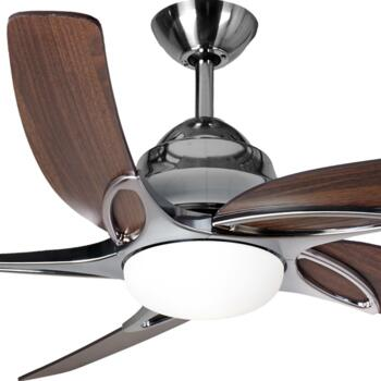 "Fantasia Viper Plus 44"" Ceiling Fan - Stainless Steel - Dark Oak Blades & 2 x 60W G9 Halogen"