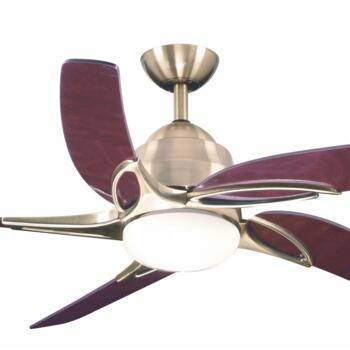"Fantasia Viper Plus 54"" Ceiling Fan - Antique Brass - Mahogany Blades & 2 x 60W G9 Halogen"