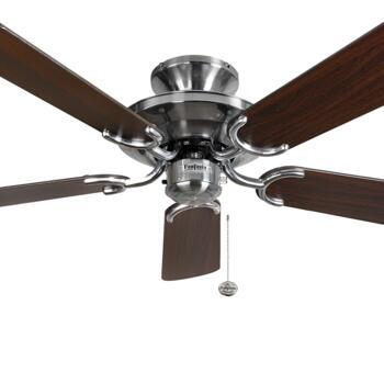 """Fantasia Mayfair Ceiling Fan - Stainless Steel - 42"""" Dark Oak Blades"""
