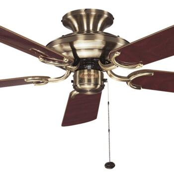 "Fantasia Mayfair Ceiling Fan - Antique Brass - 42"" Dark Oak Blades"