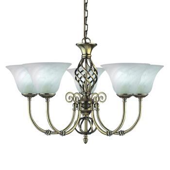 Cameroon Ceiling Light - Ant Brass 5 Light 975-5 - Antique Brass